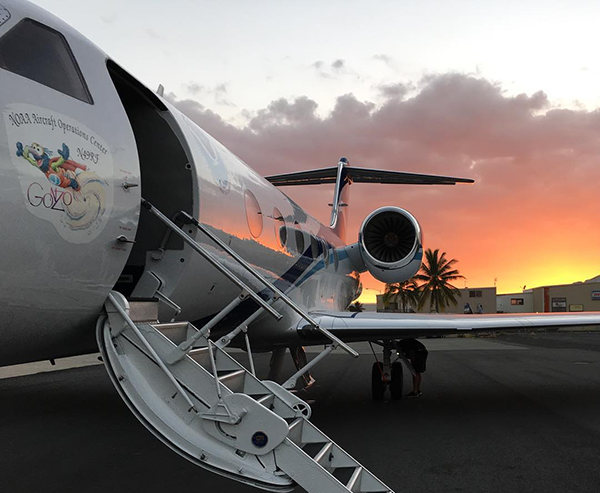 NOAA G-IV aircraft at sunset (Credit: Matt Newman, CIRES)